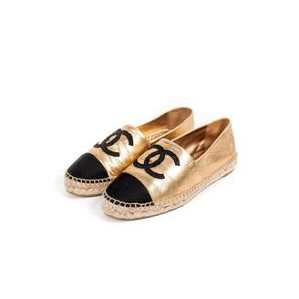 Chanel Gold Leather Espadrilles
