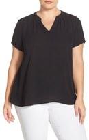 Sejour Plus Size Women's Split Neck Short Sleeve Blouse