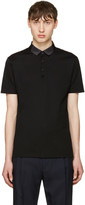Lanvin Black Grosgrain Collar Polo