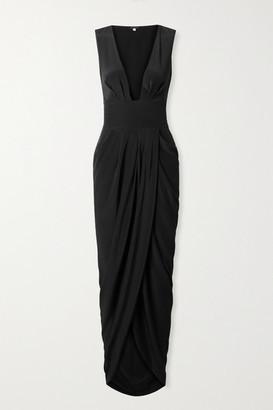 Johanna Ortiz Sparkling Restrepia Cutout Draped Silk-satin Maxi Dress - Black
