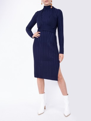 Proenza Schouler Navy Ribbed Knit Midi Dress