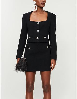 Alessandra Rich Embellished high-waist wool-blend tweed mini skirt