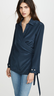 TRE by Natalie Ratabesi Long Sleeve Collared Silk Blouse