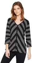 Jones New York Women's Vnk Directional Stripe Top W/Slit Slvs