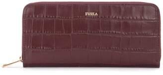 Furla Babylon Wallet In Smooth Leather With Burgundy Crocodile Motif