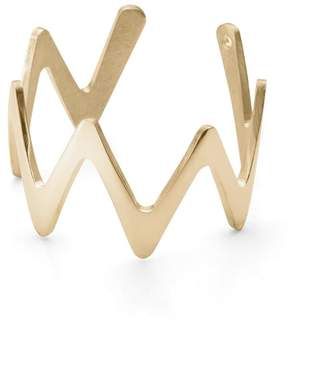 Ekria Large Zigzag Stackable Ring Shiny Yellow Gold