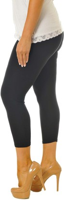 Nouvelle Collection Womens Plus Size Leggings Cropped Trousers Capri Elasticated 3/4 Length Bottoms 7011 (Black 28-30)