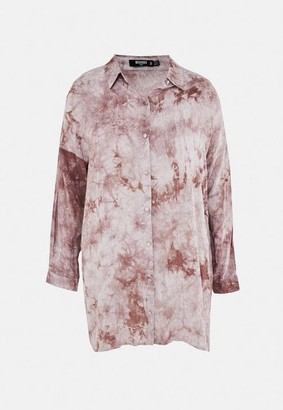 Missguided Plus Size Brown Tie Dye Shirt Dress
