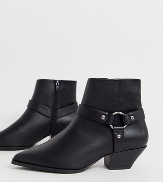 ASOS DESIGN Wide Fit Aidan harness western ankle boots in black
