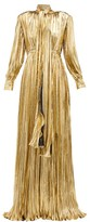 Gucci Pussy-bow Silk-blend Lame Gown - Womens - Gold