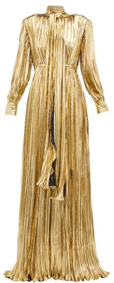 Gucci Pussy-bow Silk-blend Lame Gown - Gold