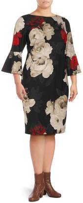 Calvin Klein Collection Plus Floral-Print Bell-Sleeve Dress