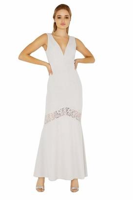 Little Mistress Women's Abbie Plunge Maxi Dress with Lace Insert