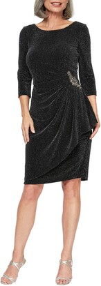 Alex Evenings Side Ruched Metallic Cocktail Dress