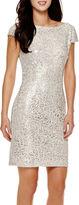Liliana Simply Cap-Sleeve Sparkle Sheath Dress