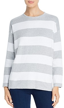 Eileen Fisher Striped Organic Cotton Boxy Sweater