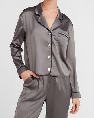 Express Satin Long Sleeve Pajama Shirt