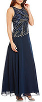 J Kara Sleeveless Beaded Bodice Asymmetrical Waistline Gown