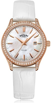 Rotary Watches Oxford Rose Gold Pvd Watch With A White Leather Strap