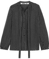 McQ by Alexander McQueen Pintucked Flocked Silk-blend Blouse - Black