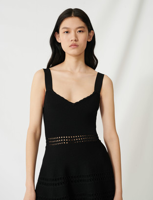 Maje Openwork knit skater dress