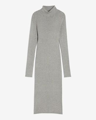 Express Ribbed Turtleneck Midi Sweater Dress