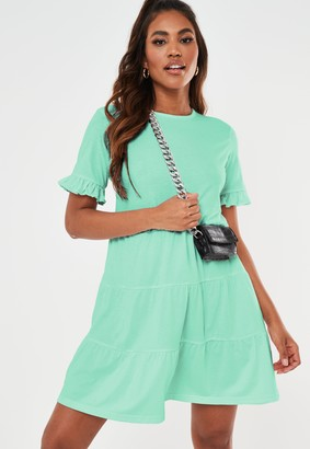 Missguided Mint Frill Sleeve Tiered Smock Dress