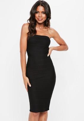 Missguided Black Bandeau Bandage Bodycon Midi Dress