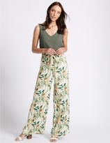 Marks and Spencer Printed Hammered Wide Leg Trousers