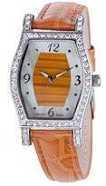 Croton CN207514TNTI Ladies Genuine Tiger Eye Stone Dial Watch with Leather Strap