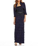 Jessica Howard Petite Lace Tiered 2-Piece Jacket Dress