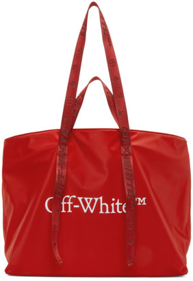 Off-White Red Nylon Commercial Tote
