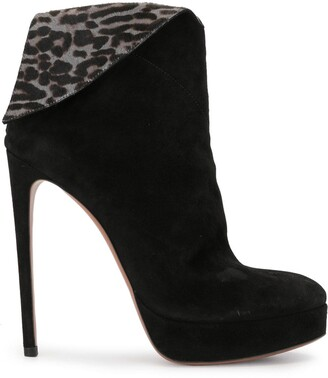 Alaïa Pre-Owned Leopard-Fold Ankle Boots