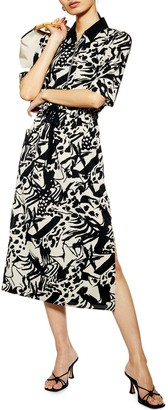 Topshop Front Zip Midi Shirt Dress