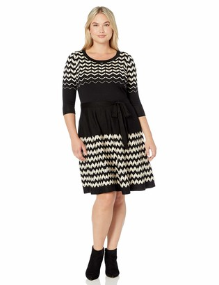 Gabby Skye Women's Plus Size 3/4 Sleeve Scoop Neck Fit & Flare Sweater Dress
