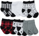 "Rene Rofe Baby Boys' ""Starry Plaid"" 6-Pack Crew Socks"
