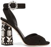 Dolce & Gabbana Bianca Embellished Suede Sandals - Black