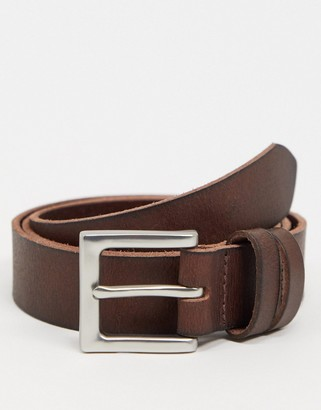 ASOS DESIGN leather slim belt in brown with silver buckle
