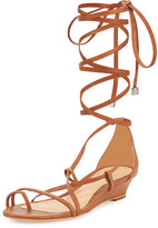 Schutz Morley Lace-Up Leather Gladiator Sandal, Bamboo