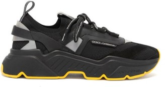 Dolce & Gabbana Daymaster Leather, Suede And Mesh Trainers - Black