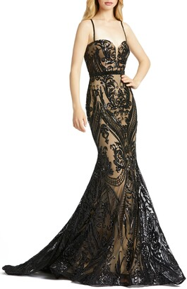 Mac Duggal Bustier Damask Sequin Mermaid Gown