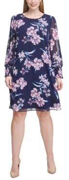Jessica Howard Plus Size Chiffon Floral A-Line Dress