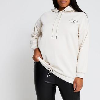 River Island Womens Plus Cream long sleeve back print hoody