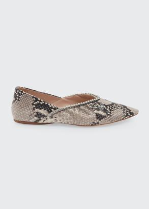 Miu Miu 5mm Python Printed Pointed-Toe Ballet Flats