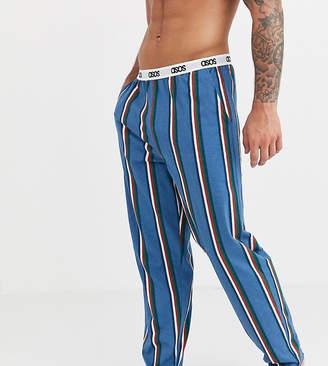 Asos DESIGN lounge pyjama bottoms with navy khaki and burgundy stripe and branded waistband