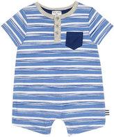 Splendid Short-Sleeve Striped Henley Playsuit, Light Blue, Size 0-9 Months