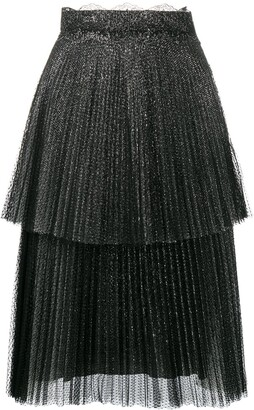 Christopher Kane Glitter Tulle Tiered Pleated Skirt