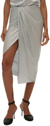 Helmut Lang Ruched Stretch Silk Skirt