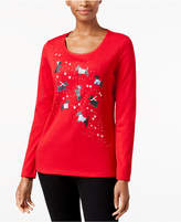 Karen Scott Petite Cotton Holiday Scottie Dog T-Shirt, Created for Macys'