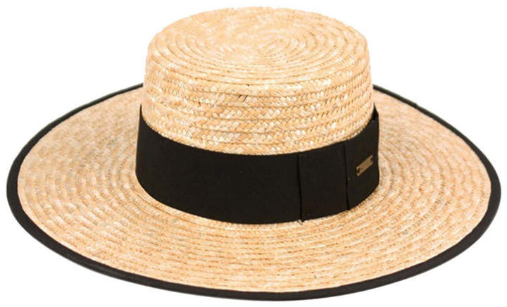 b4fa5765789 Angela & William Braid Natural Straw Women Boater Hat with Black Band